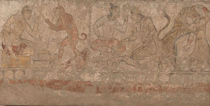 "A panel of a mural in the reception hall of a Panjakent house depicts two scenes from the Panchatantra, a collection of Indian fables. On the left is the fable known as ""The Blacksmith and His Ape Assistant,"" and on the right is ""The Tale of the Wise Men Who Brought a Tiger Back to Life."""