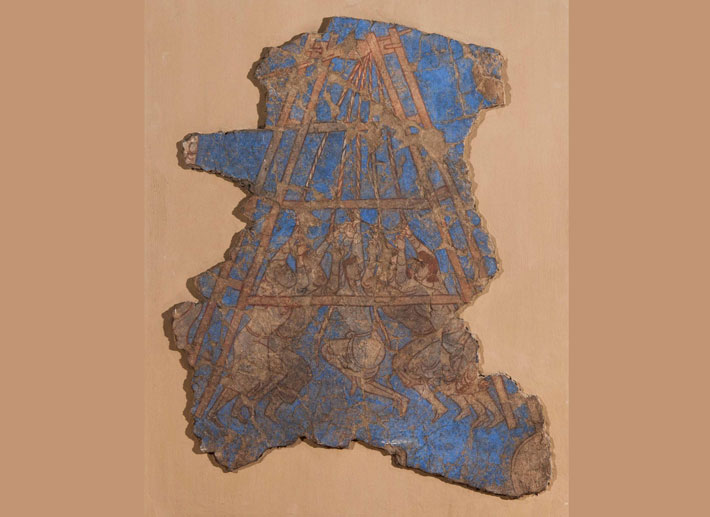 A mural fragment discovered in the citadel palace of Panjakent's ruler Devastich (r. ca. A.D. 706-722) appears to depict Arab soldiers besieging the prominent Sogdian city of Samarkand. In A.D. 722, Panjakent too was seized by Arab forces.