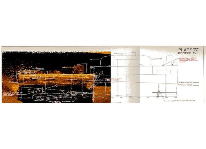 USS Abner Read'in şematik bir diyagramı, Delaware Üniversitesi, Scripps Oşinografi Enstitüsü'nden bir araştırmacı ekibi tarafından 2018'de Kiska Adası açıklarında bulunan geminin kıç tarafının enkazının yandan taramalı sonar görüntüsünün üzerine yerleştirilmiş. , ve Proje Kurtarma.  (Nezaket Projesi Kurtarma)