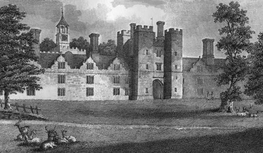 This 1809 engraving depicts the Outer Wicket Tower of Knole House and the surrounding green. The house was then occupied by the family of George Sackville, 4th Duke of Dorset. (Courtesy National Trust)