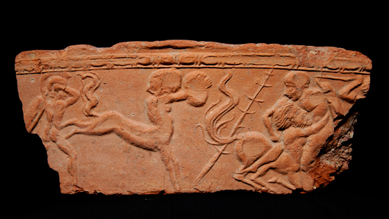 A terracotta decoration from Insula IV depicts a battle featuring centaurs, the half-man, half-horse mythological figures of Greco-Roman mythology.   (Marco Merola)