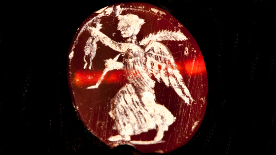 In addition to the architectural remains, the new excavations in the residential quarter have also uncovered personal items such as this carved carnelian gemstone depicting a winged figure. (Marco Merola)