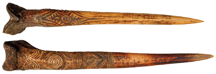 Weapons New Guinea Human Bone Daggers horizontal