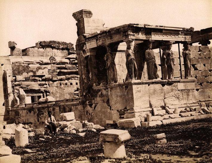 Acropolis Erectheion Caryatid Vintage