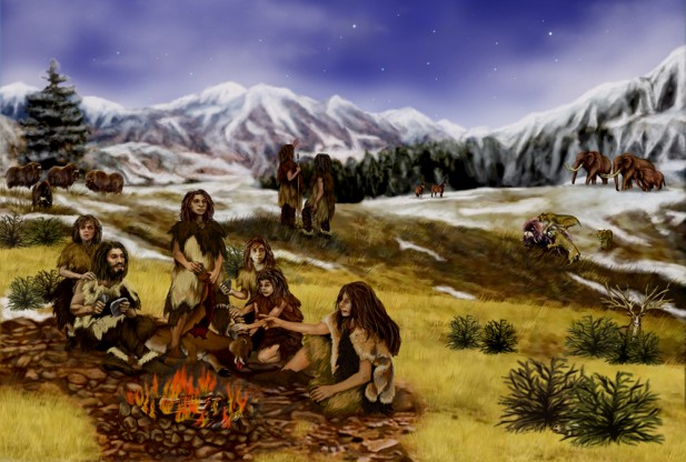 neanderthal-family-hearth