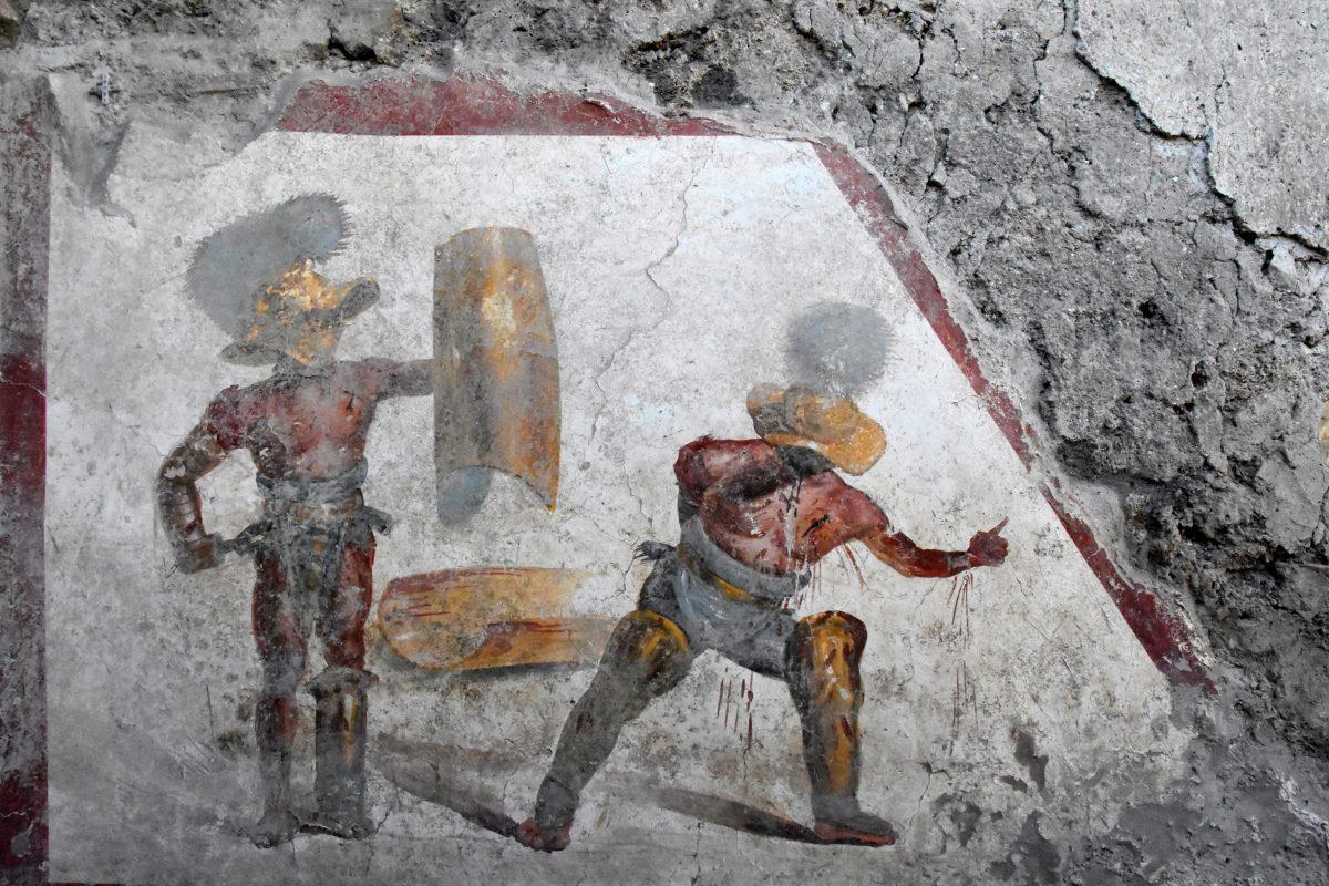 Gladiator Fresco Revealed in Pompeii