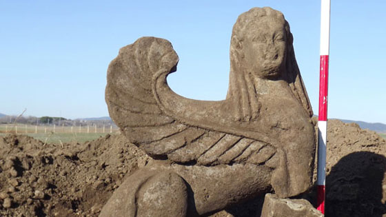 "Another wealthy tomb, excavated in 2012 near the ""Tomb of the Silver Hands,"" contained this spectacular stone figure of a sphinx. (Marco Merola)"
