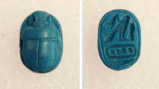 "The ""Tomb of the Sphinx"" also contained a blue faience scarab dating from sometime in the 25th or 26th Dynasty (746-525 B.C.). The Etruscans were particularly fond of Egyptian objects, many of which are found in tombs in this and other Etruscan tombs. (Marco Merola)"