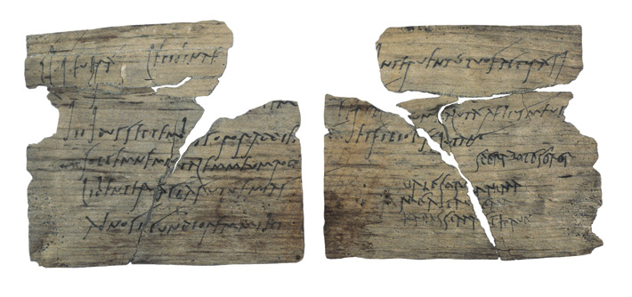 A tablet bearing a birthday party invite includes the earliest Latin script penned by a woman