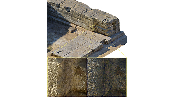A 3-D model of details from the area of the temple's opisthodomos (a room at the rear of the temple). The model for the entire 65-by-180-foot building area is accurate to within a millimeter, and the photographic textures are rendered at a similar resolution, revealing minute details throughout the site. (Phil Sapirstein/Digital Architecture Project (c) 2016)