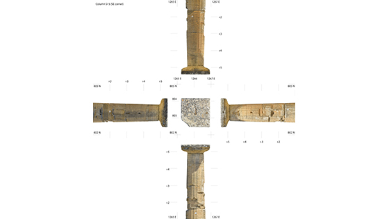 Photogrammetric models can be used to quickly and accurately generate the traditional sort of plan and elevation views typical in black-and-white archaeological line drawings made by hand. Here, four sides of one of the restored columns at the southwest corner of the temple have been projected from the 3-D models. (Phil Sapirstein/Digital Architecture Project (c) 2016)