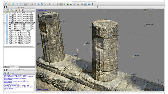 A screenshot from the photogrammetry software showing part of the south colonnade rendered as a point cloud. Close to 10 million measurements were extracted from this area, which has two partially intact columns. (Phil Sapirstein/Digital Architecture Project (c) 2016)