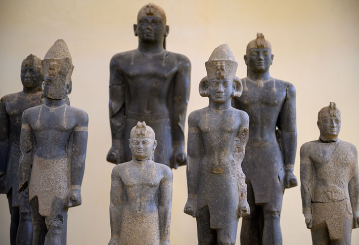 Seven statues of Nubian kings that were unearthed at Dukki Gel in 2003 have been restored and are now on display at the Kerma Museum.