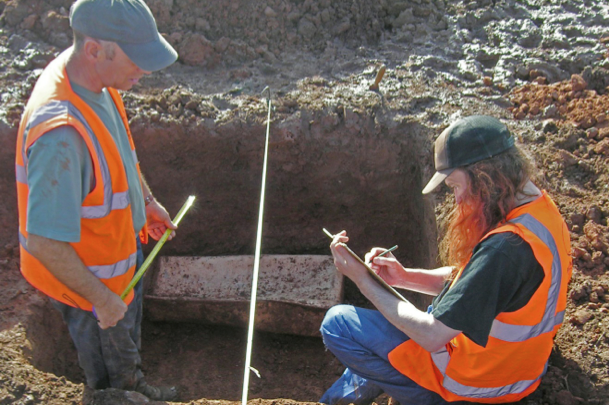 Roman Child's Lead Coffin Discovered in England Warwickshire_Coffin_In_Situ