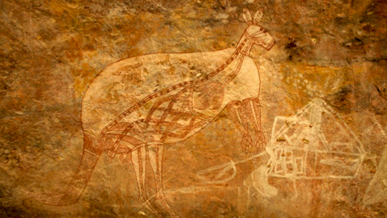 X-ray depictions of kangaroos are relatively common in the area, but few are as complete and unencumbered as this one from a rock shelter near Malarrak. The art tradition represents an increasing interest in the natural world and may have been used to teach butchery techniques. The same idea—of showing the inner workings of a subject—can be seen in the steam ship at right (note the steam emerging from the stack), as its interior cargo is visible. These paintings are ineffably representative of the late Aboriginal rock art tradition—old and new subjects side-by-side, a chronicle of a world in flux, from a people whose knowledge and contribution to Australian history is often overlooked.