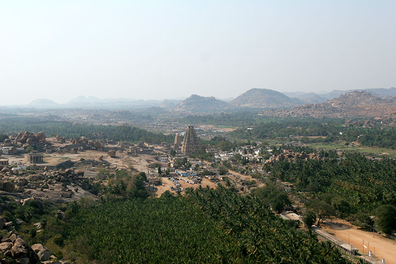 The Sacred Center of Hampi, including Virupaksha Temple (at center) and Hampi Bazaar (stretching to the right), as seen from the top of Matanga Hill