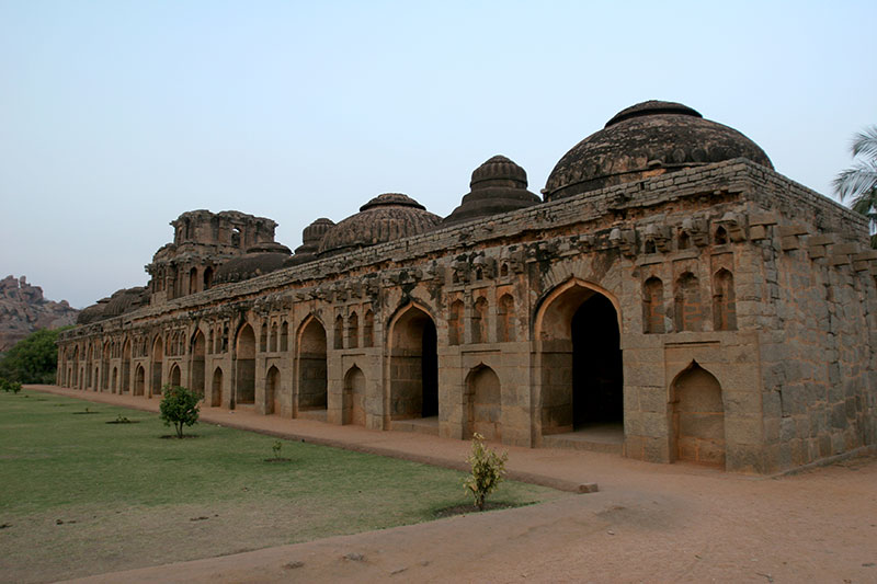 Elephant stables in what is known as the zenana enclosure, part of Hampi's Royal Center