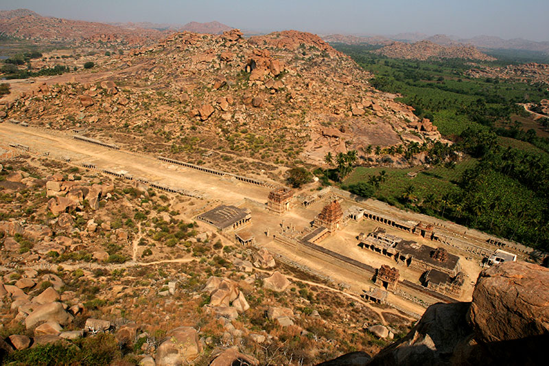 The Tiruvengalanatha Temple complex in Hampi's Sacred Center, seen from the top of Matanga Hill