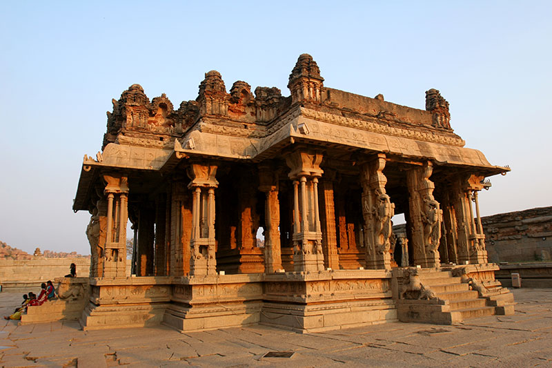 A freestanding mandapa, or pillared public hall, in Hampi's Vitthala Temple complex